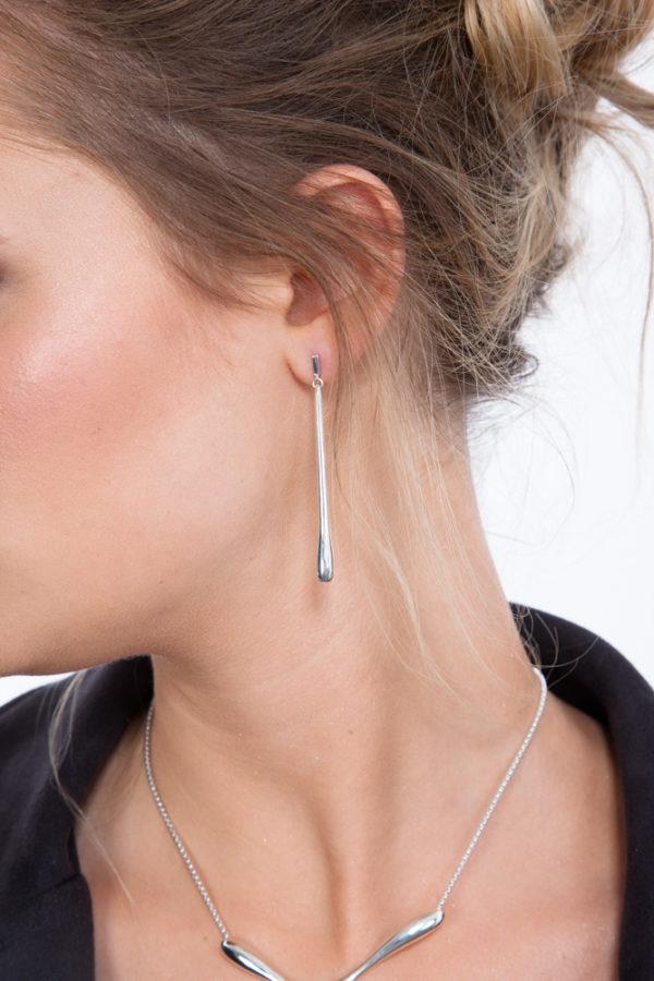 Long Drop Stud Earrings