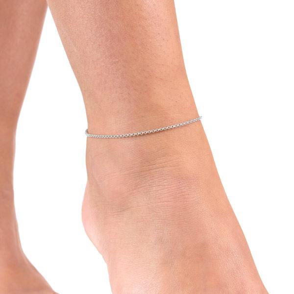 Solid Sterling Silver Drop Anklet