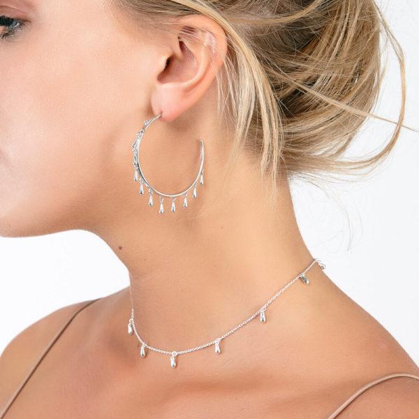 Solid Sterling Silver Multi Drop Hoops