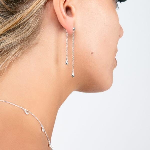 Single Interchangeable White Topaz Drop Earrings