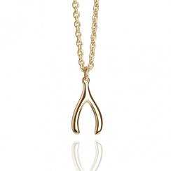 Talisman Mini Wishbone Necklace Gold Plated Vermeil