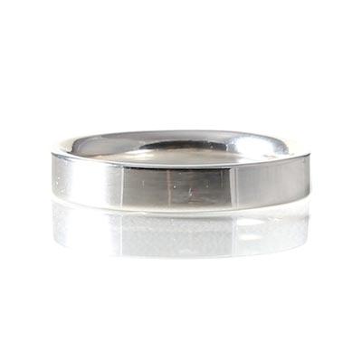 Platinum 4mm Reverse D-Shape Ring
