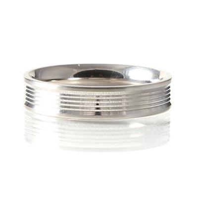 Palladium 5mm Reverse D-Shape Grooved Wedding Ring
