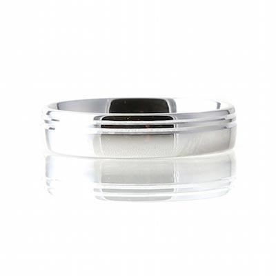 Palladium 5mm Wedding Double Groove Wedding Ring
