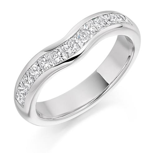 18ct White Gold Diamond Princess Cut Shaped Ring