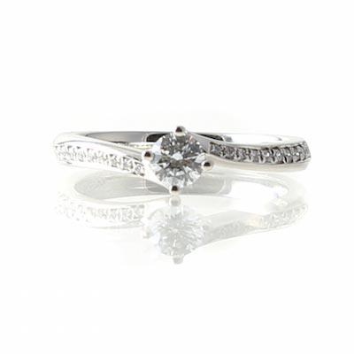 Platinum Diamond Twist Ring, Pave set Shoulders