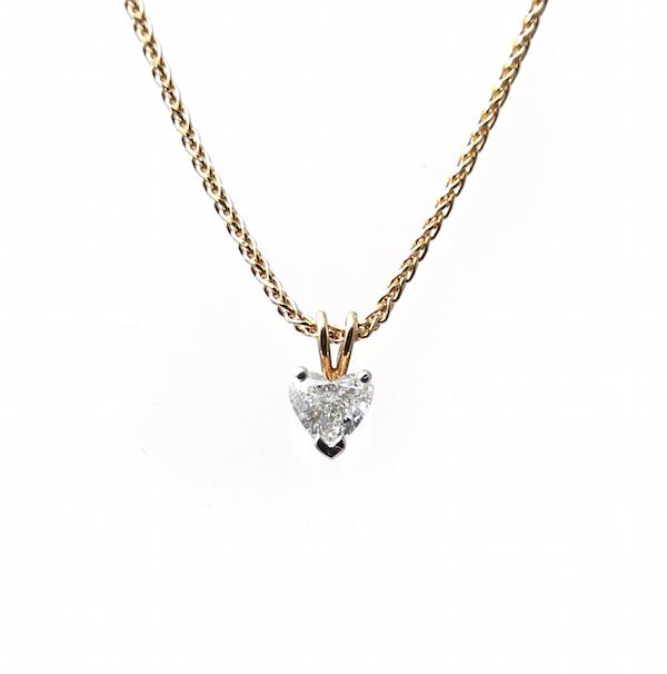 18ct Yellow Gold Heart Shaped Diamond Pendant
