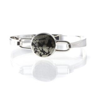 Silver Pyrite Bangle