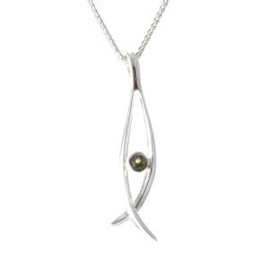 Silver Peridot Pendant Necklace
