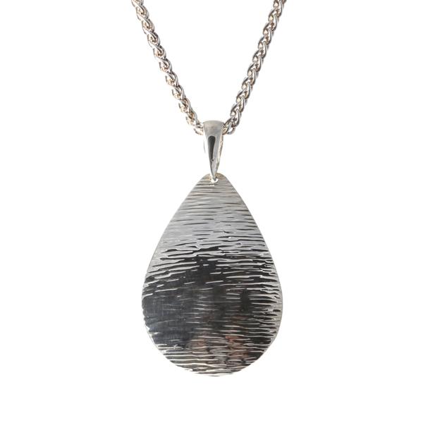 Silver Teardrop Grain Finish Pendant on a Silver Spiga Neckchain