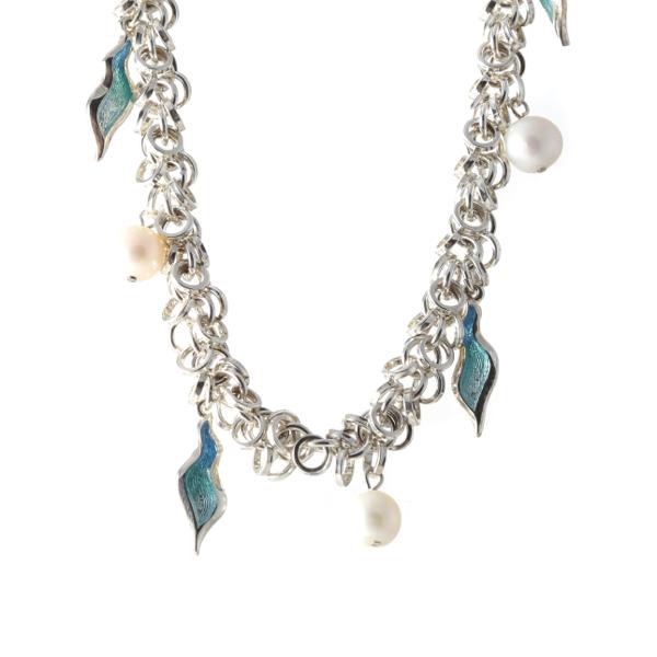 Silver Fresh Water Pearl & Enamel Necklace