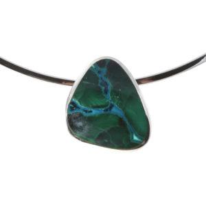 Silver Chrysocolla Pendant on a Silver Collar