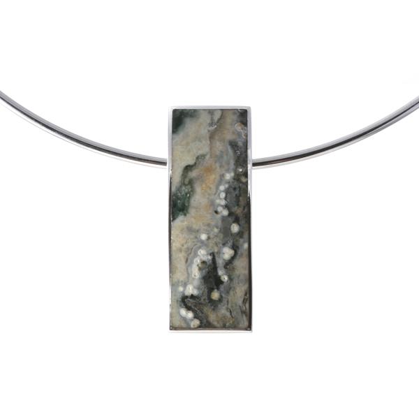 Silver Jasper Pendant on a Silver Collar