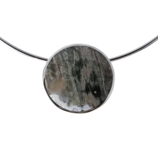 Silver Jasper Circle Pendant on a Silver Collar