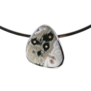 Silver Jasper Pendant on a Silver Torque Collar