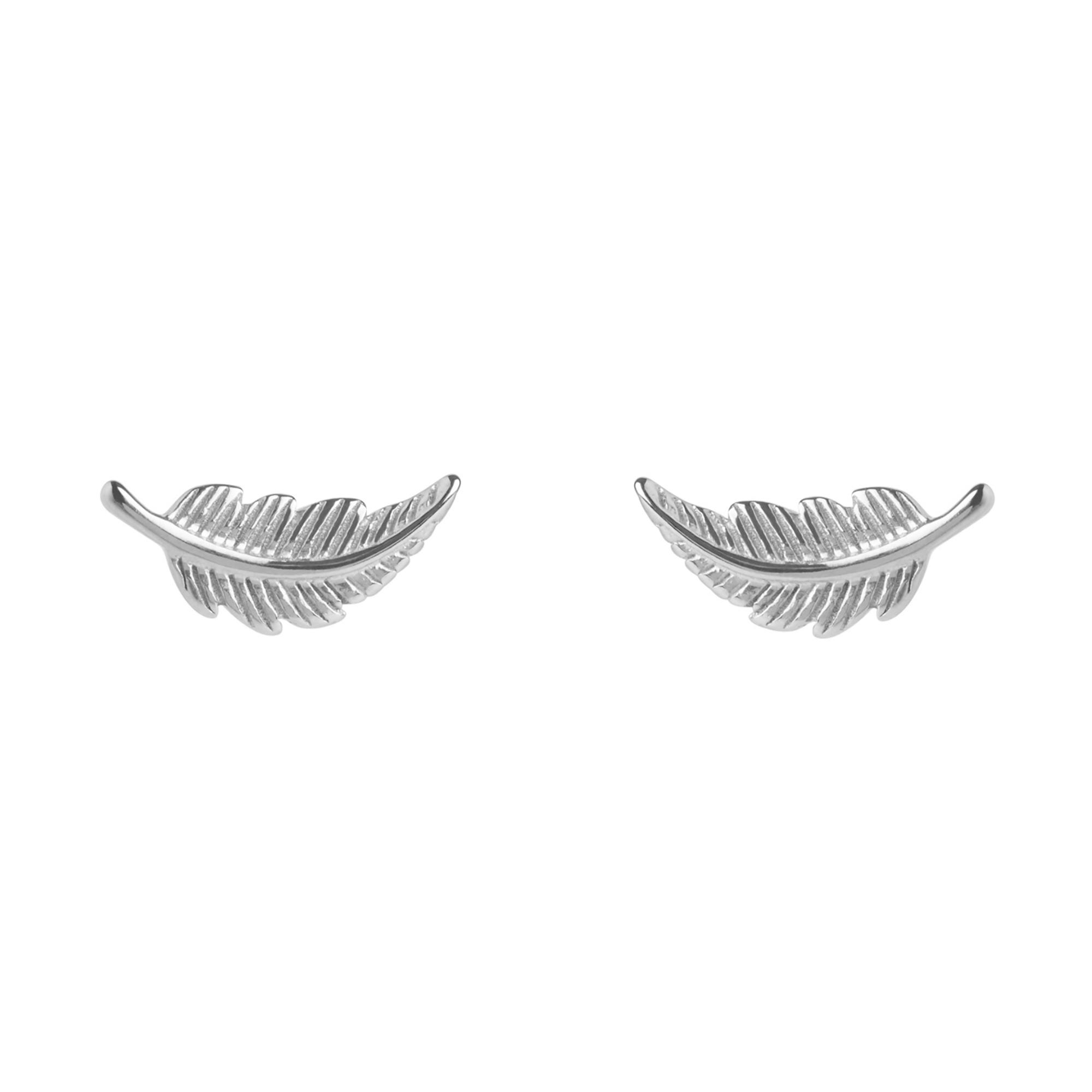 Muru Feather Stud Earrings Silver