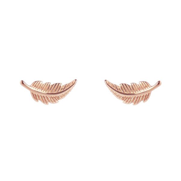Muru Feather Stud Earrings Rose Gold  Plated