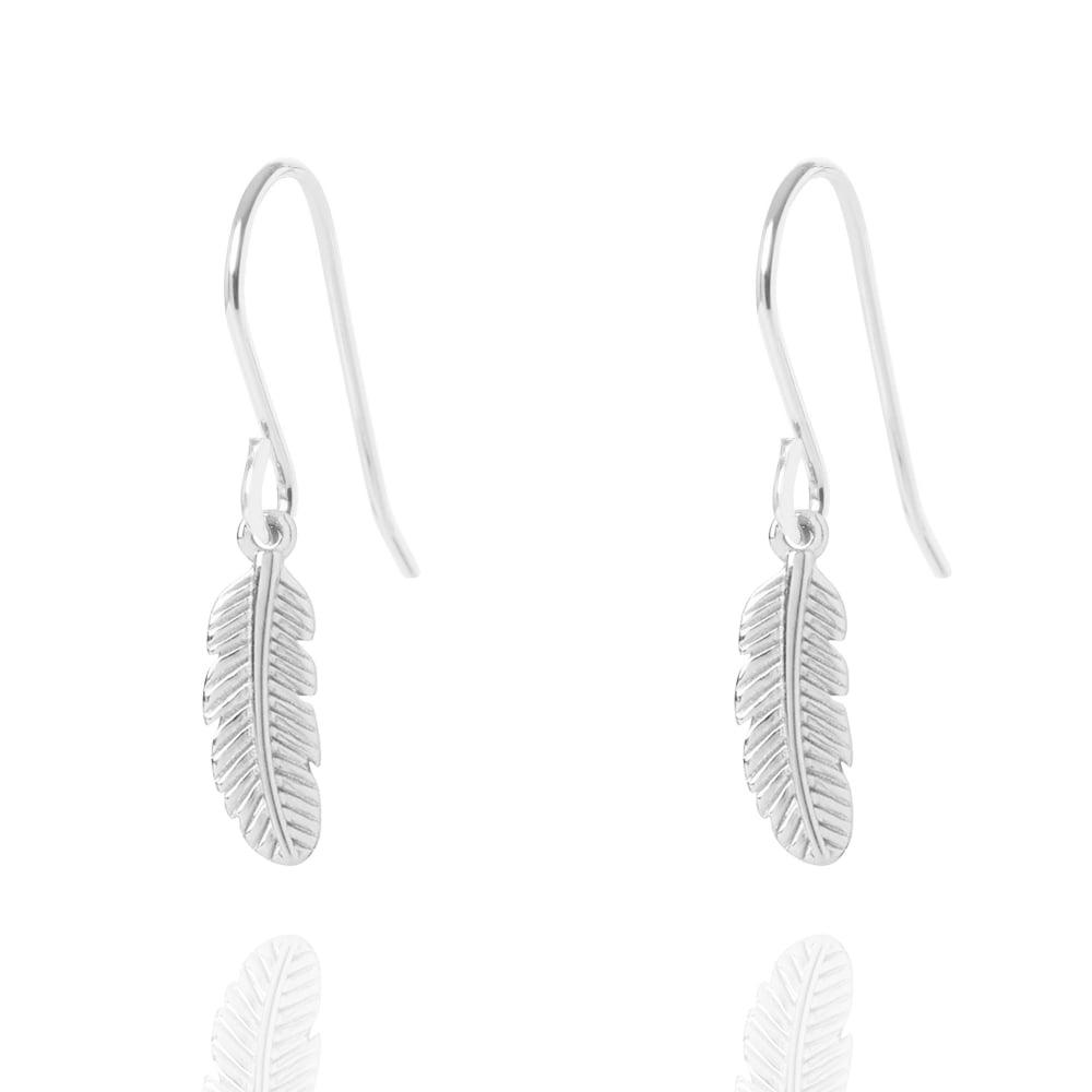 Muru Feather Hook Earrings Silver