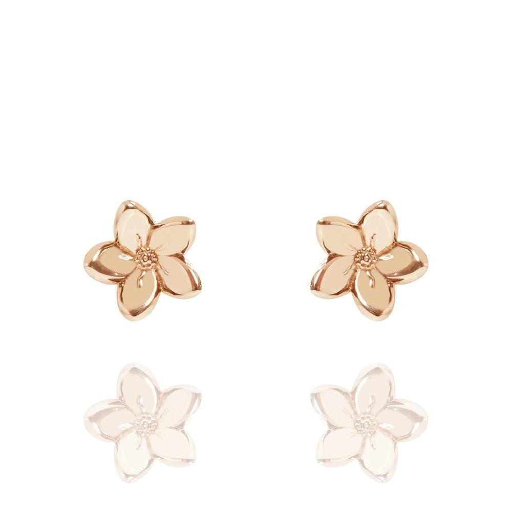 Muru Forget Me Not Stud Earrings Rose Gold Plated