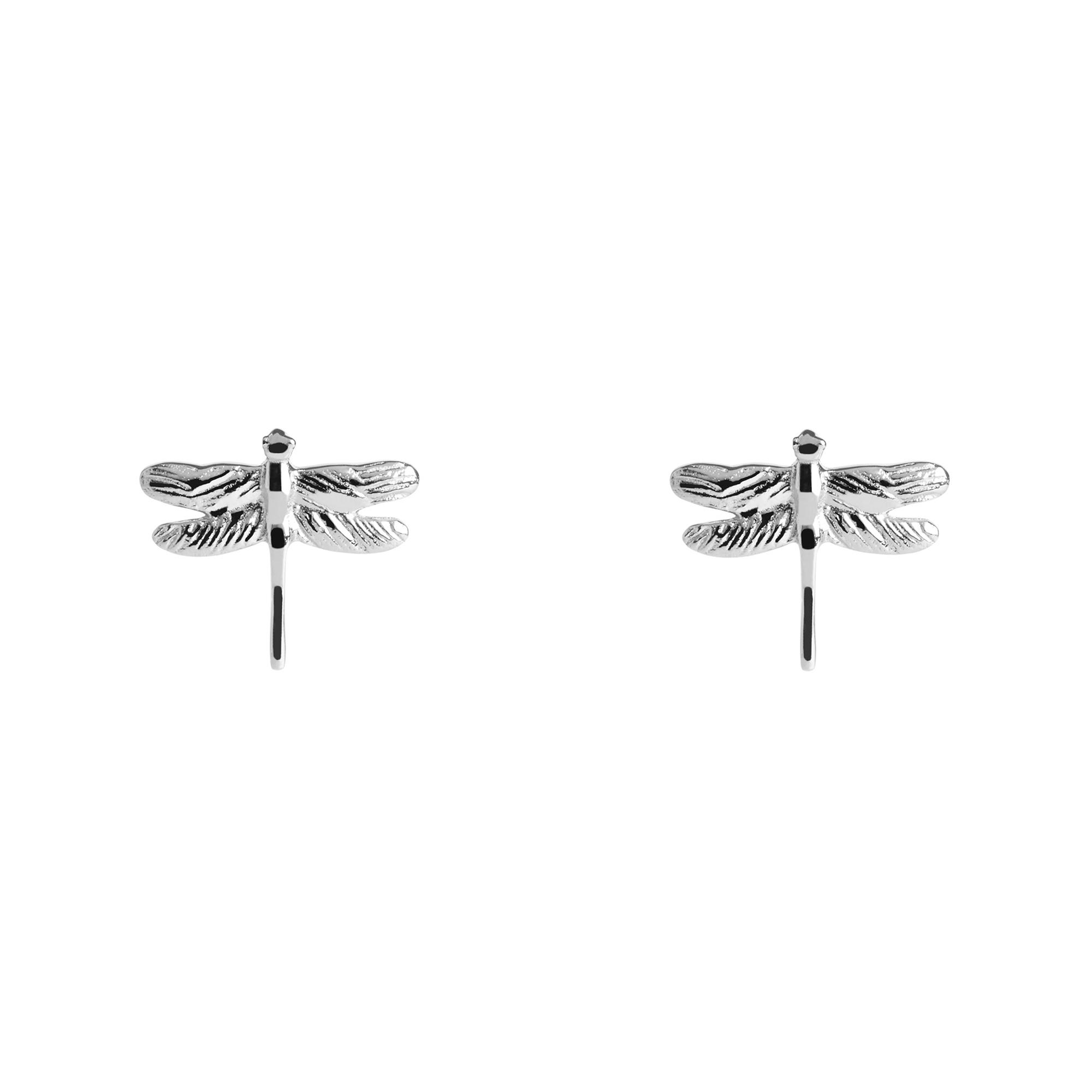 Muru Dragonfly Stud Earrings Silver