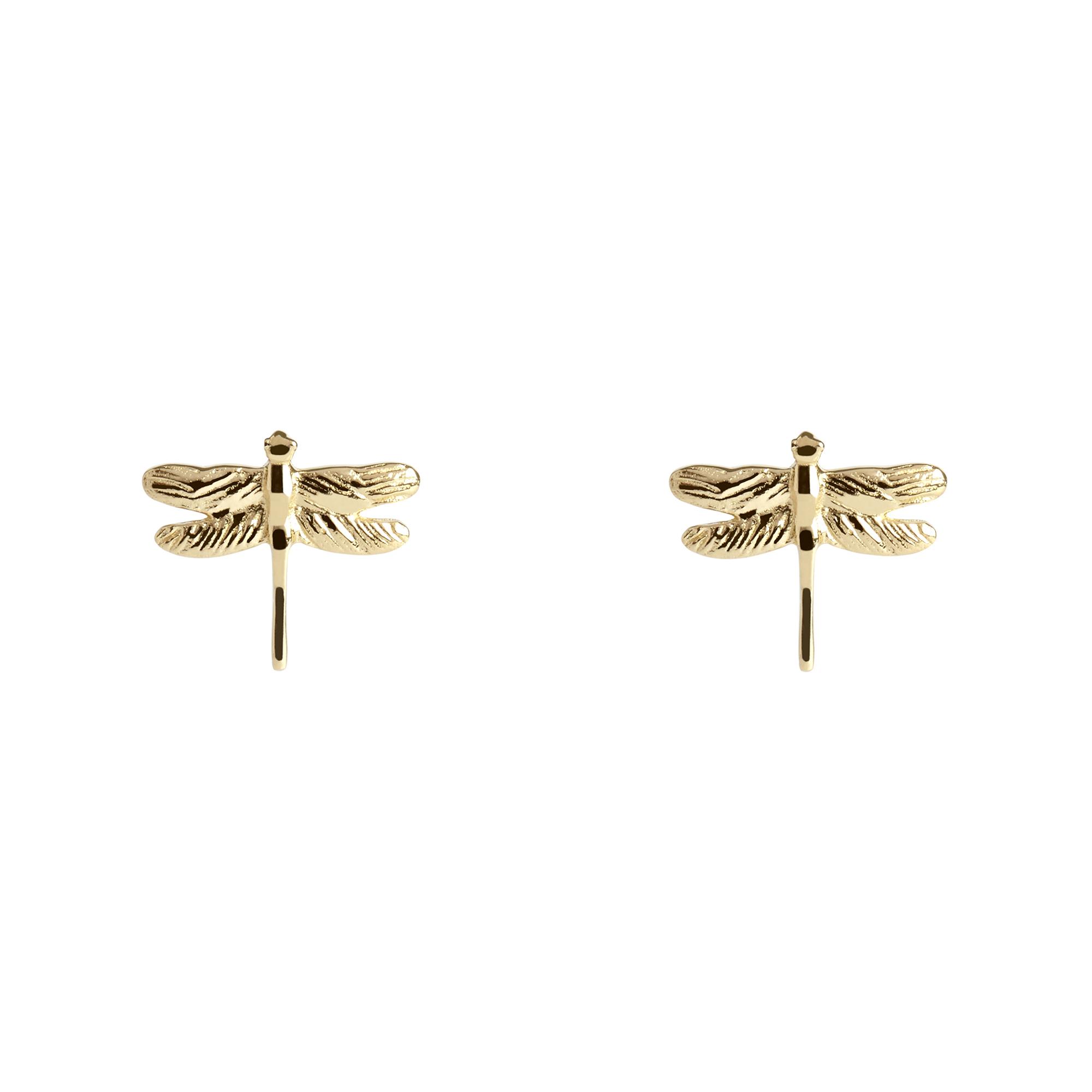 Muru Dragonfly Stud Earrings Gold Plated
