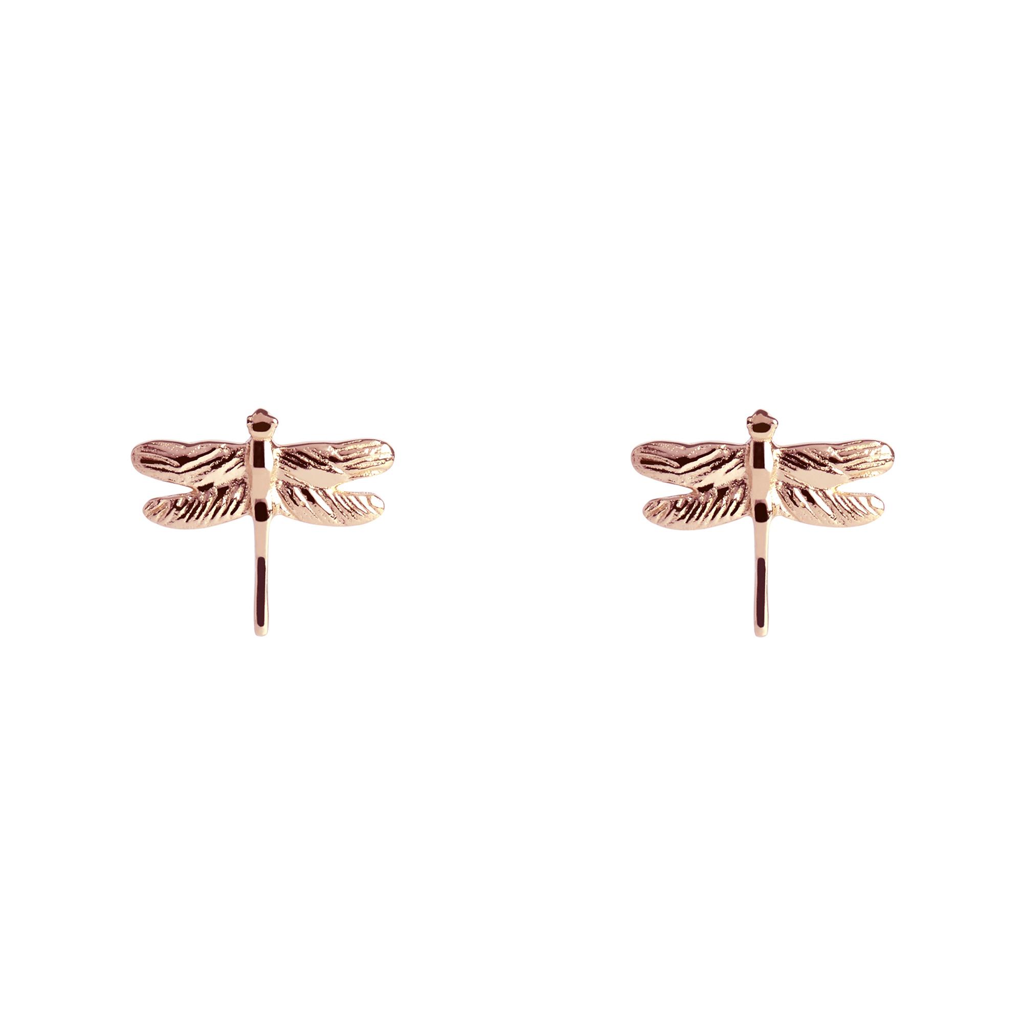 Muru Dragonfly Stud Earrings Rose Gold Plated