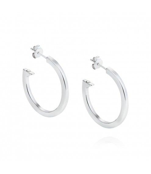 Claudia Bradbury Geo Silver Hoop Earrings