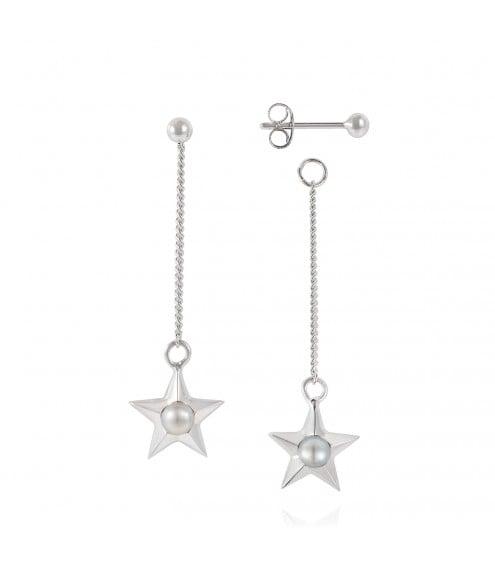 Claudia Bradbury Star Drop Earrings Silver