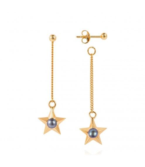 Claudia Bradbury Star Drop Earrings Gold Plated