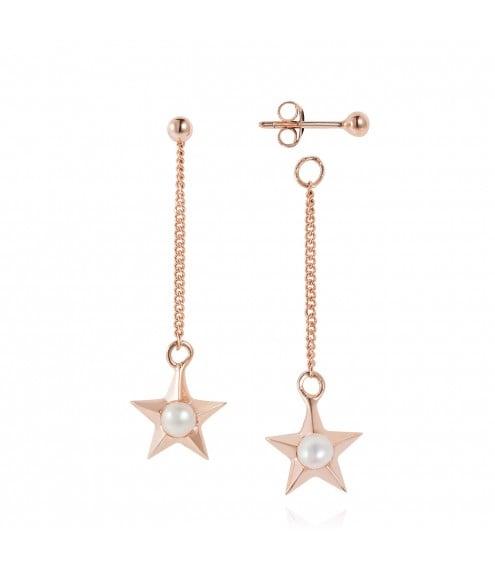 Claudia Bradbury Star Drop Earrings Rose Gold Plated