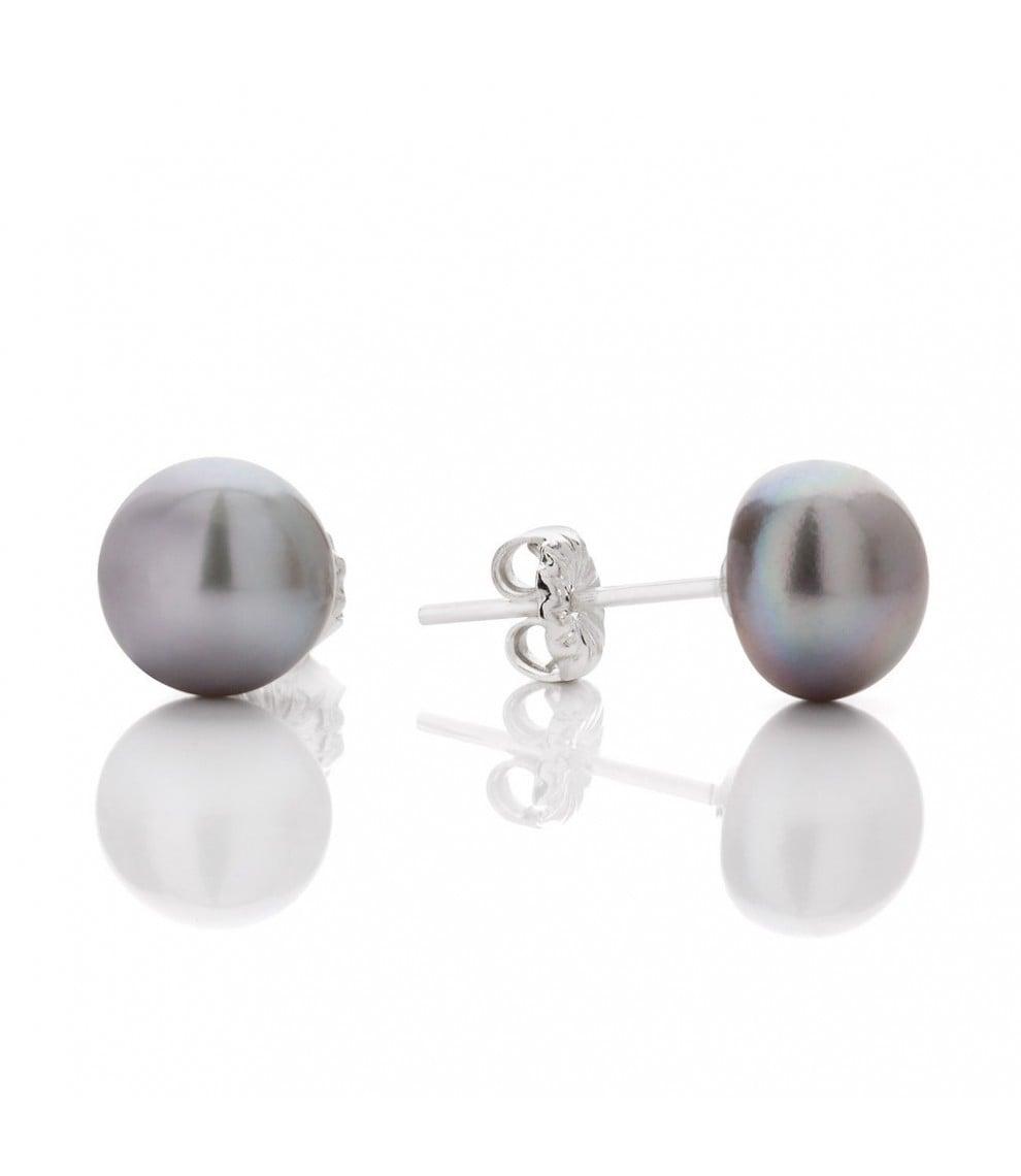 Claudia Bradbury Button Silver Pearl Studs