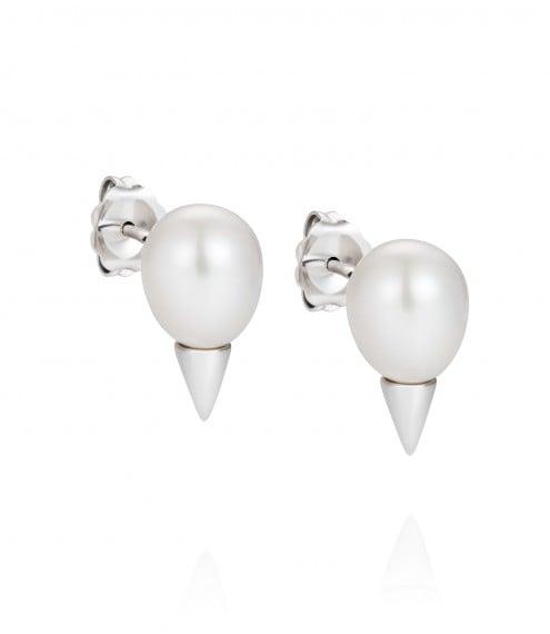 Claudia Bradbury Geo Pearl Cone Earrings