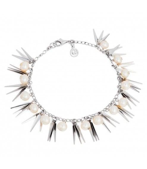 Tribal Pearl & Silver Bracelet