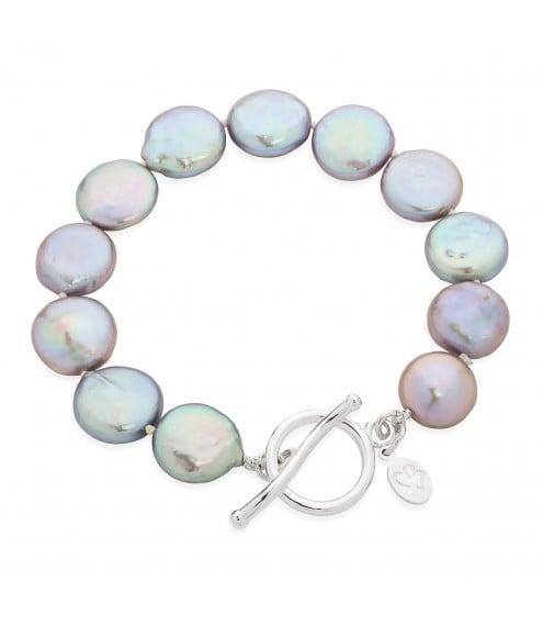 Bedruthan Silver Coin Pearl Bracelet