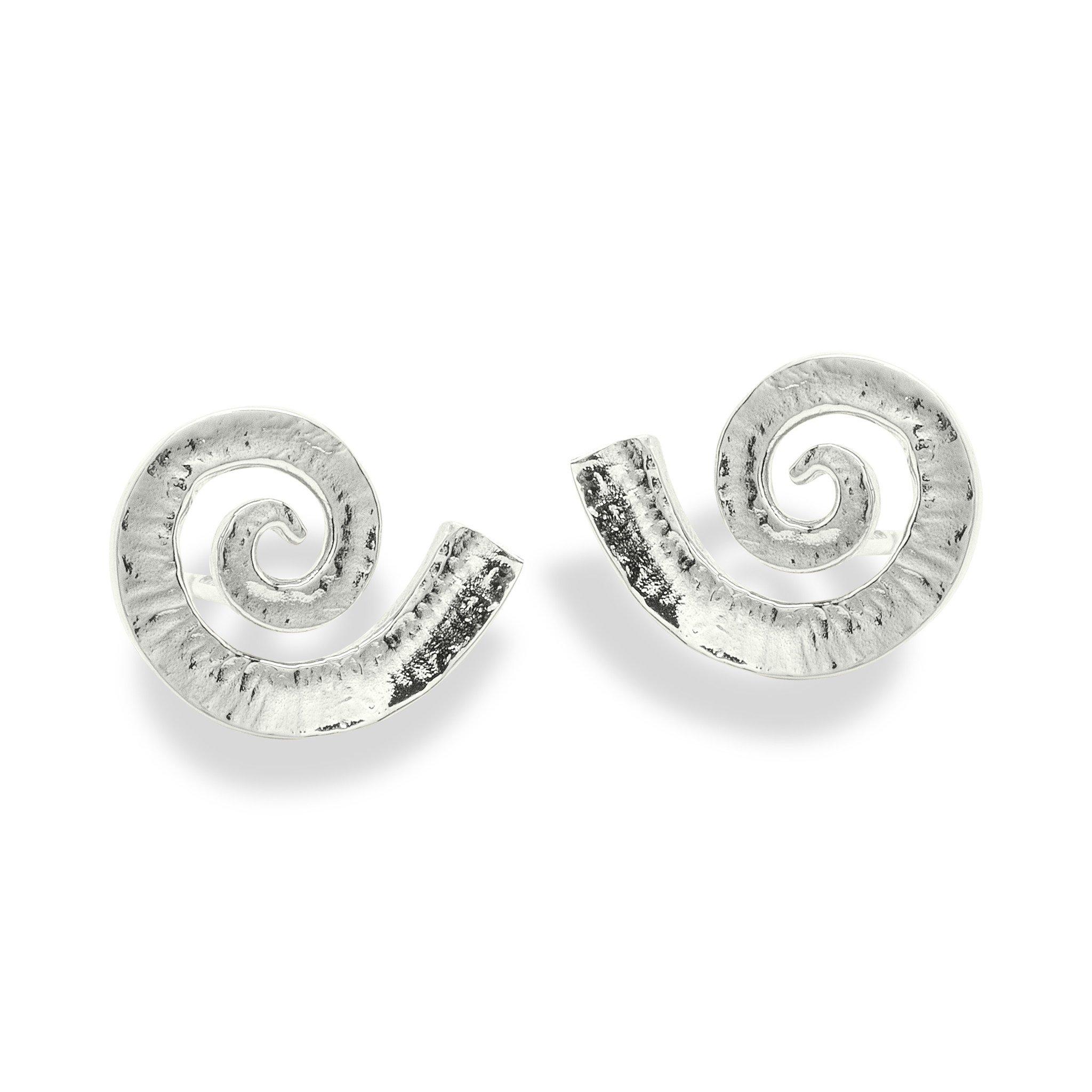 Dreki Medium Spiral Sea Wave Silver Stud