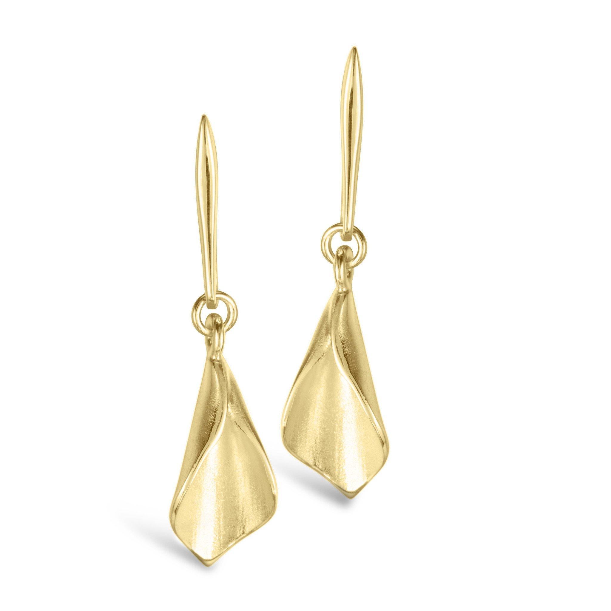 Lilium Calla Lily Gold Drop Earrings