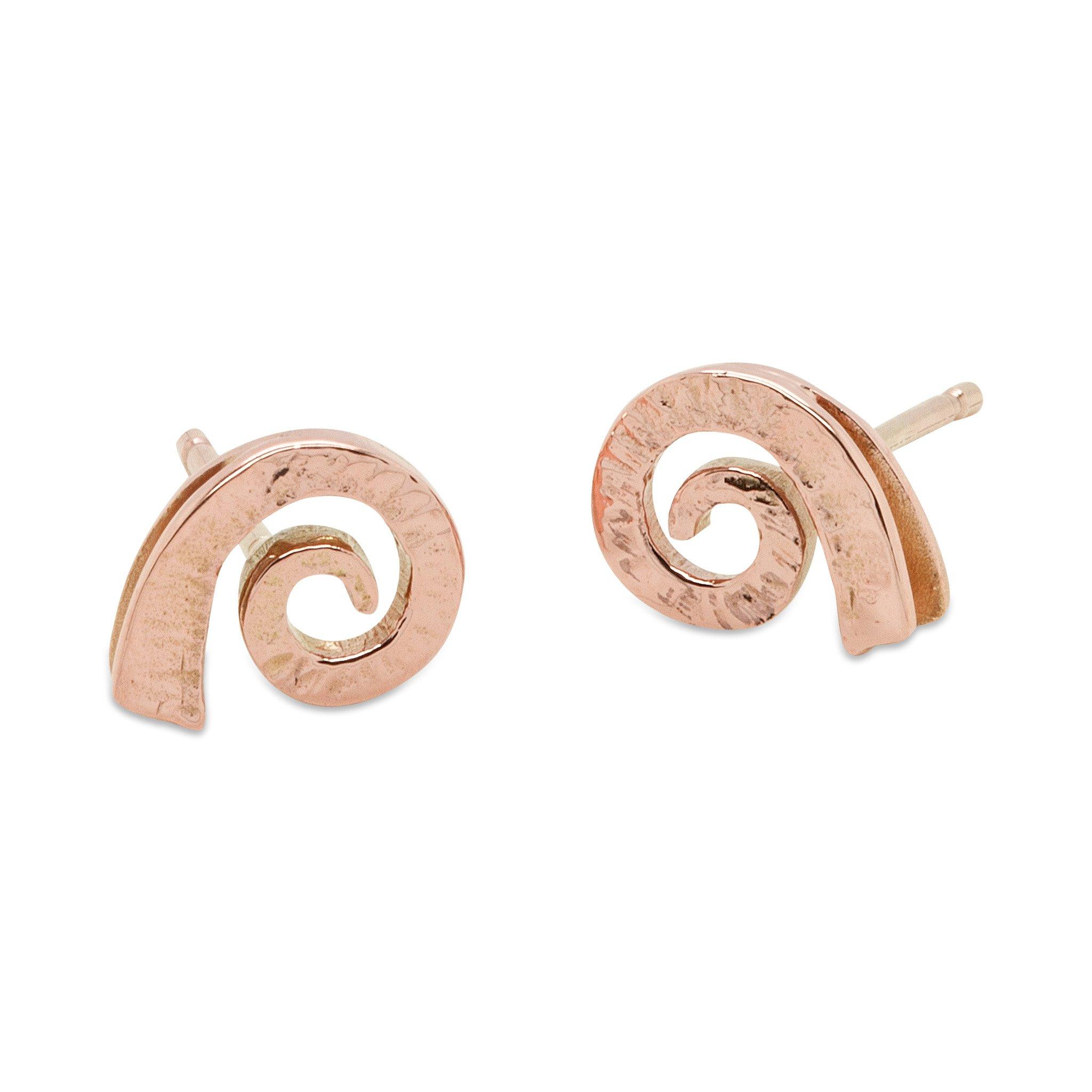 Dreki Small Spiral Sea Wave Rose Gold Studs