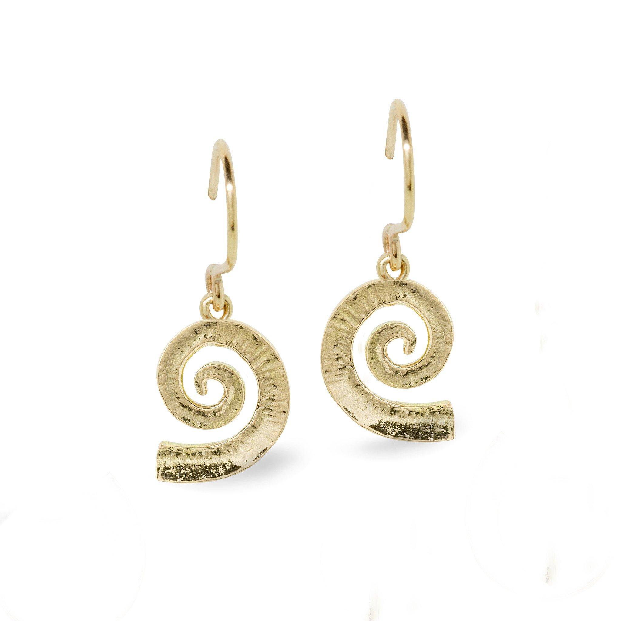 Dreki Medium Gold Spiral Sea Wave Drop Earrings
