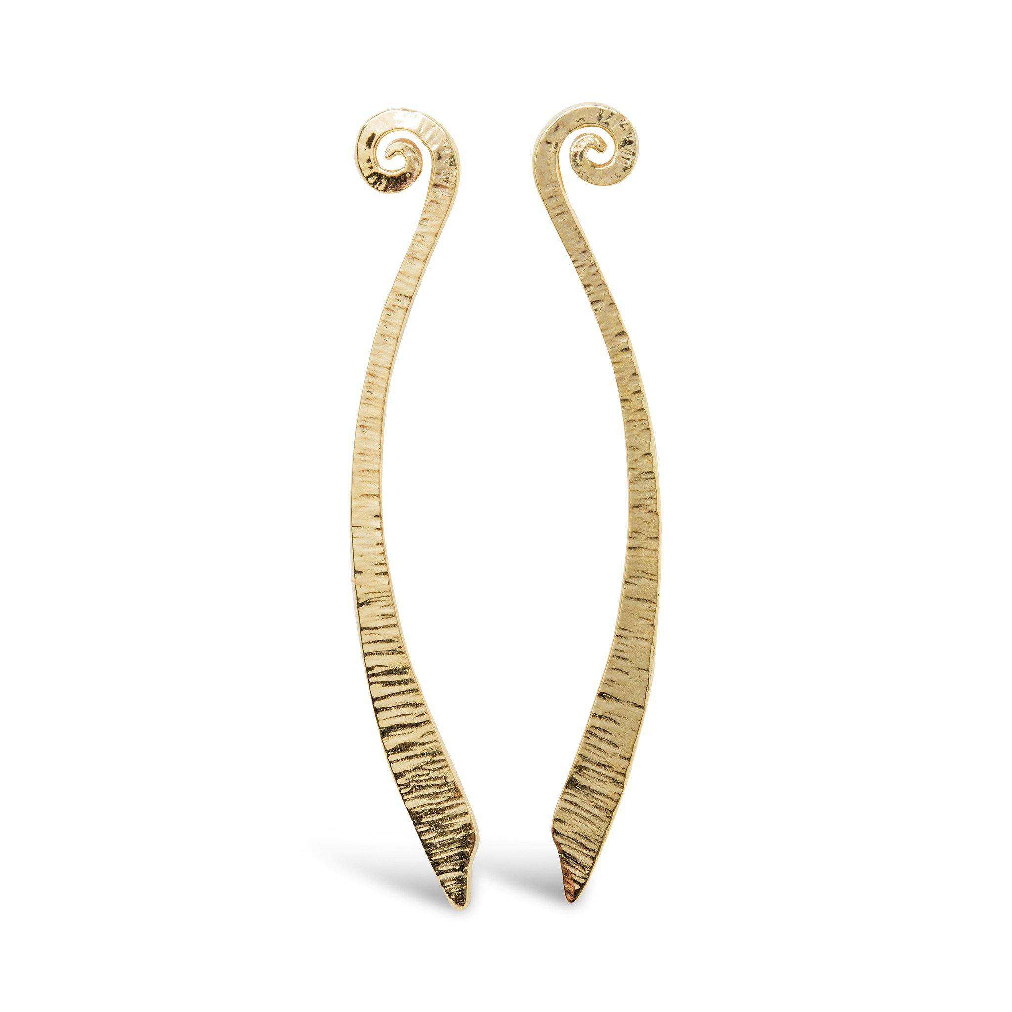 Dreki Long Gold Stud Earrings
