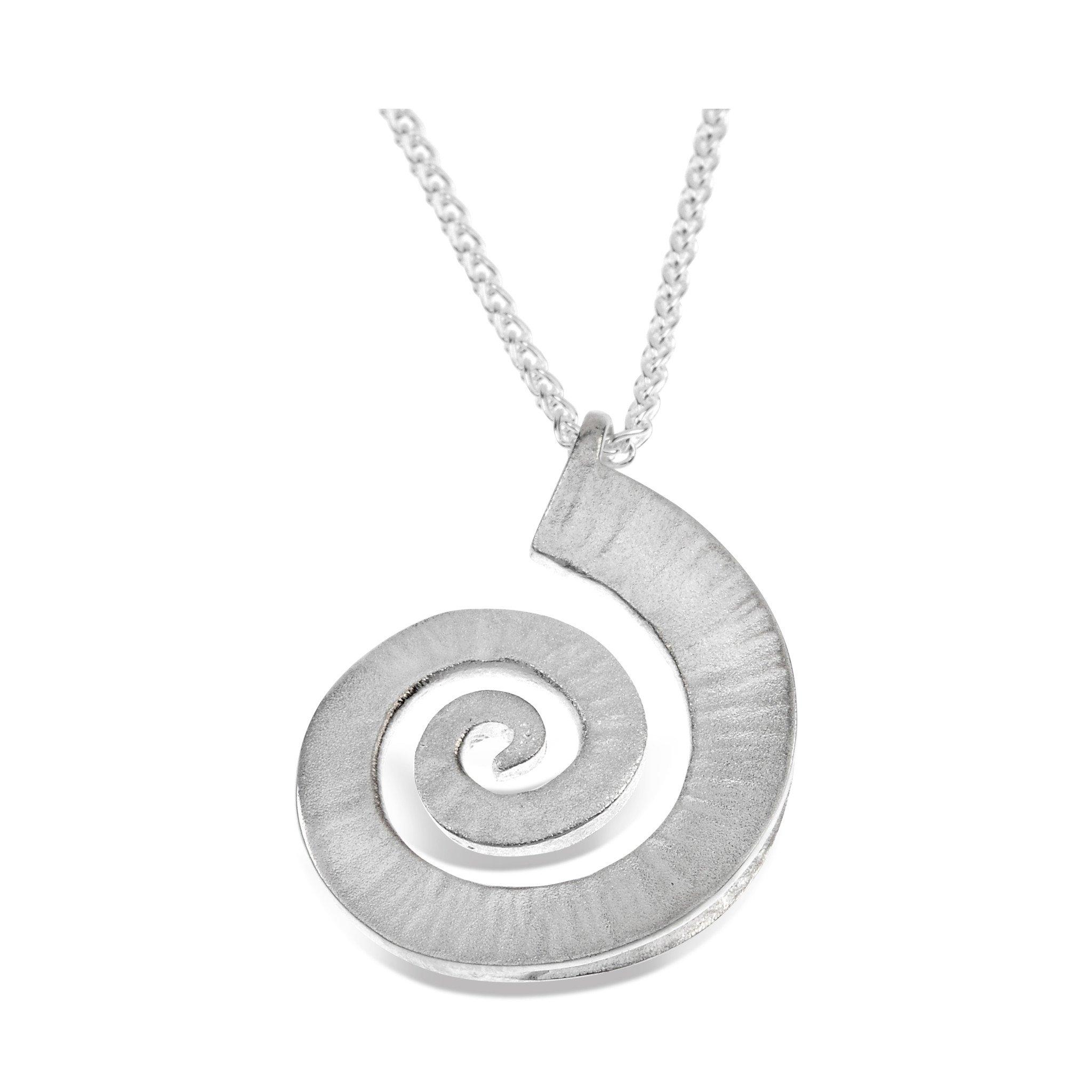 Dreki Large Silver Spiral Wave Pendant
