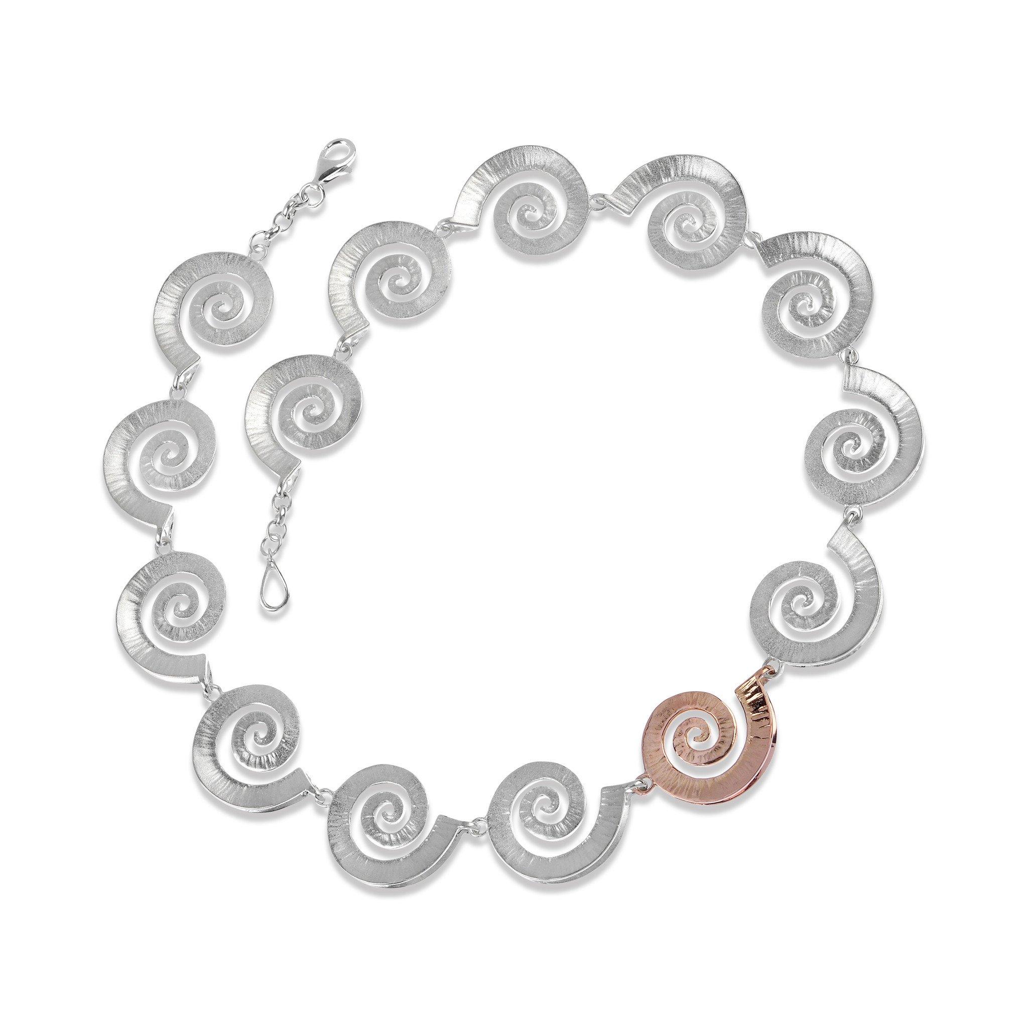 Dreki Silver & Rose Gold Sea Wave Necklace