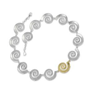 Dreki Silver & Gold Sea Wave Necklace