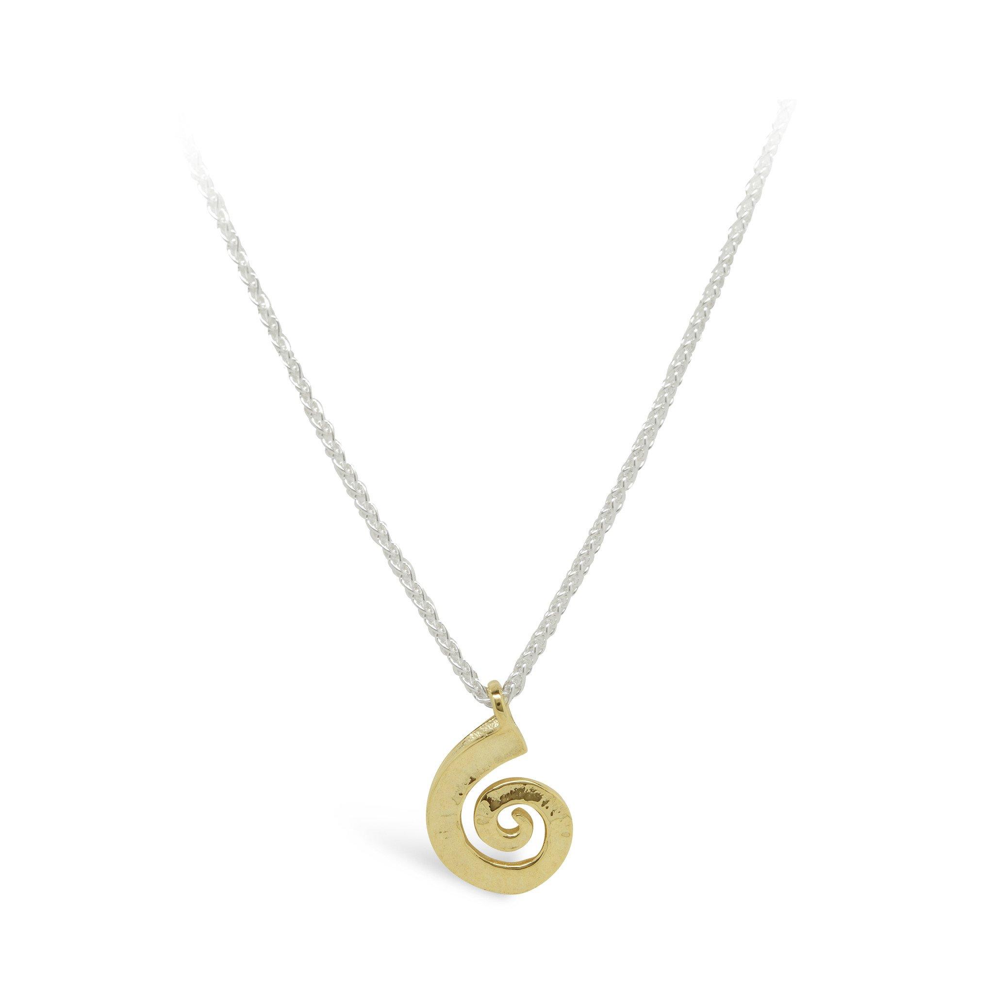 Dreki Gold Small Spiral Sea Wave Pendant