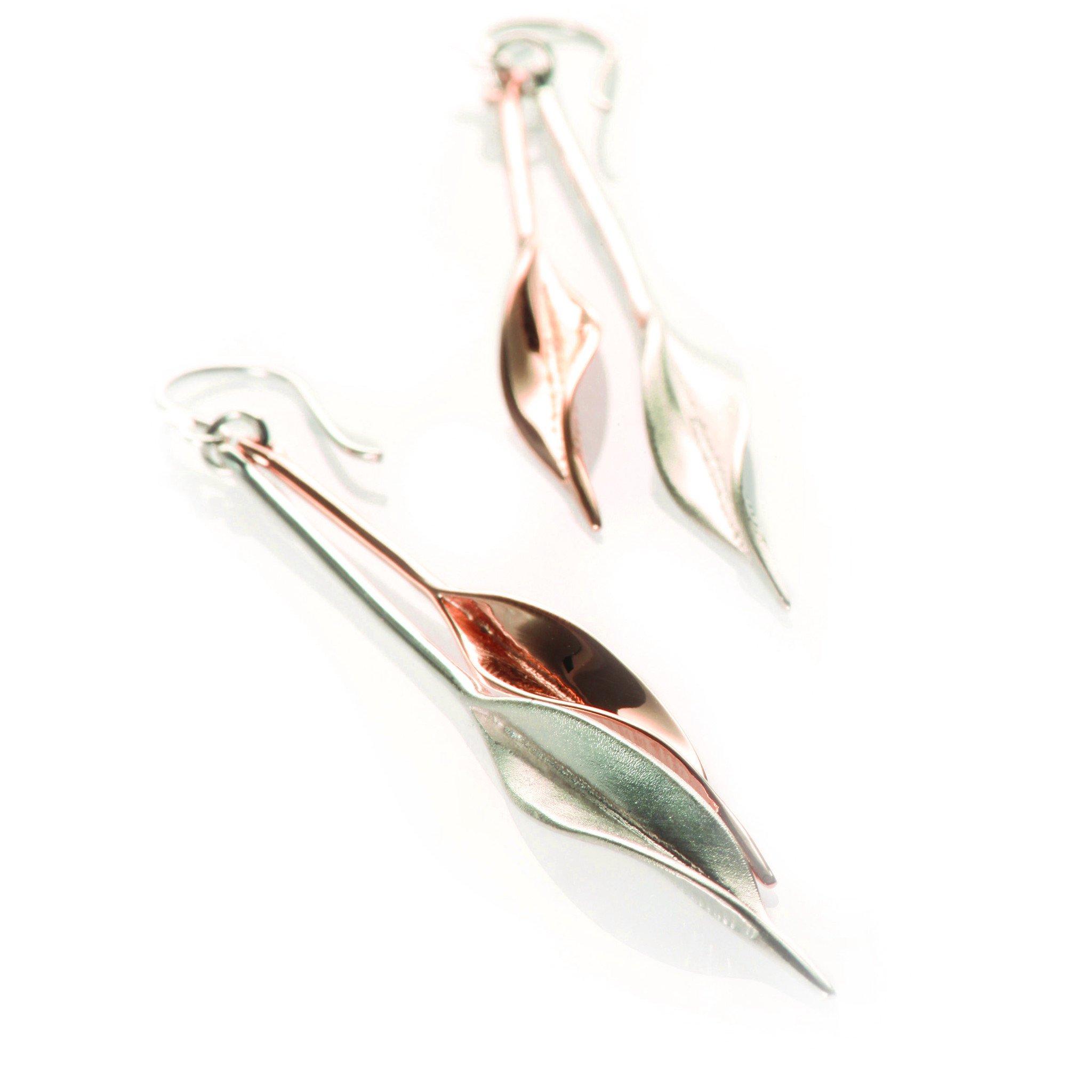 Mavilo Rose Gold & Silver Double Leaf Long Drop Earrings