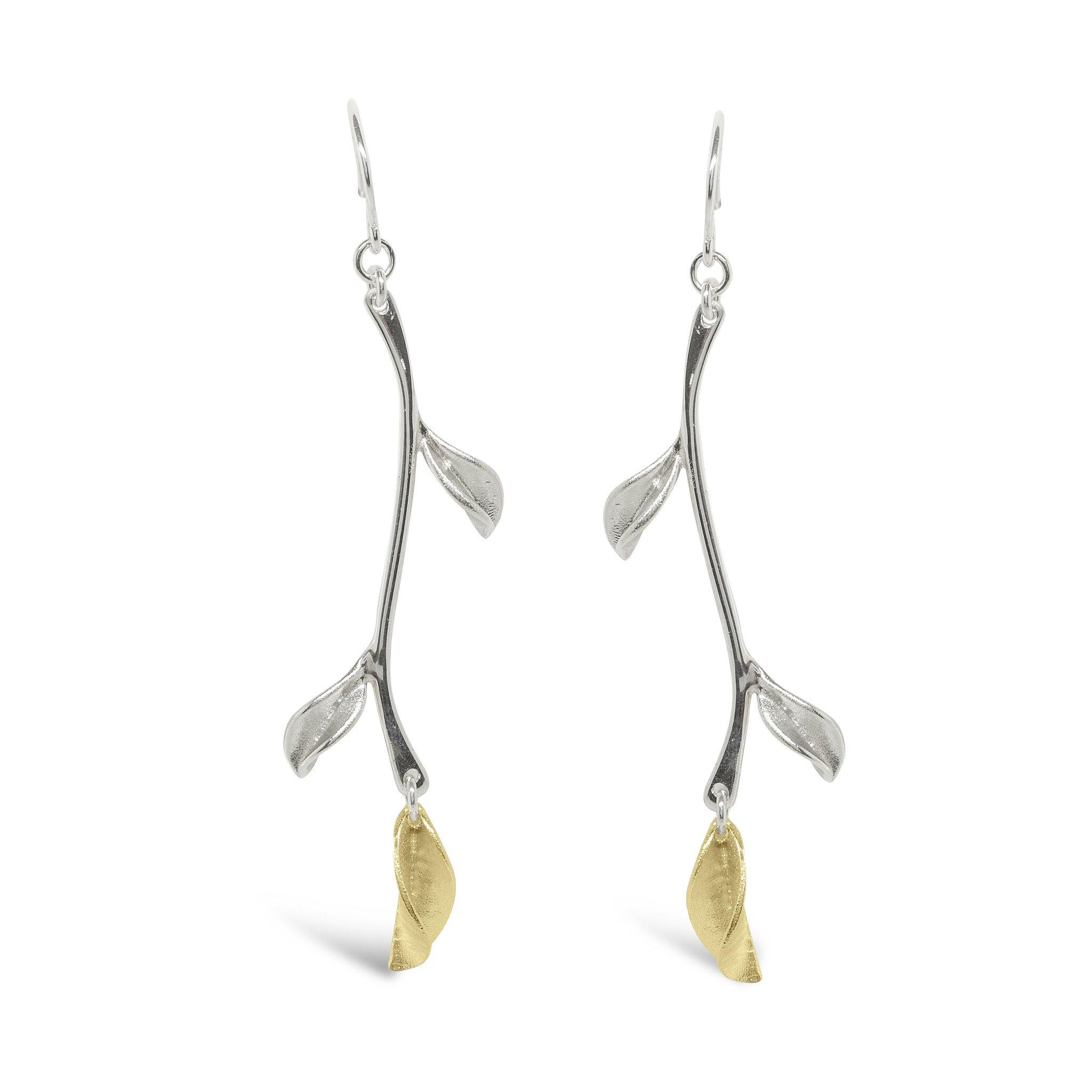 Mavilo Gold & Silver Stem Leaf Pendant