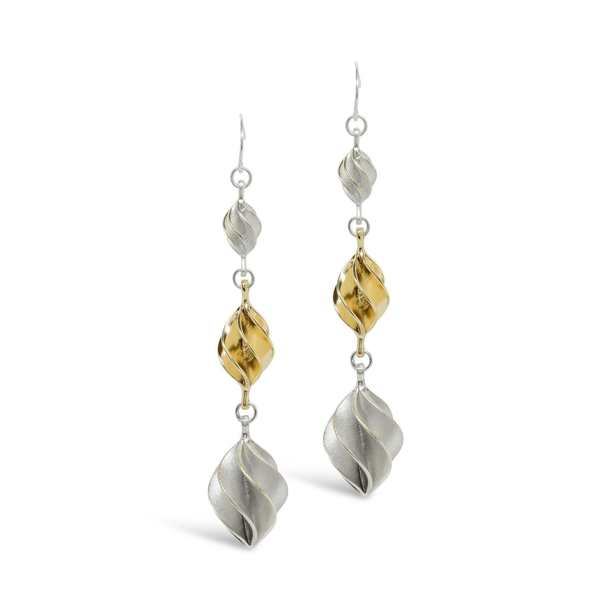 Verso Silver & Gold Triple Drop Earrings