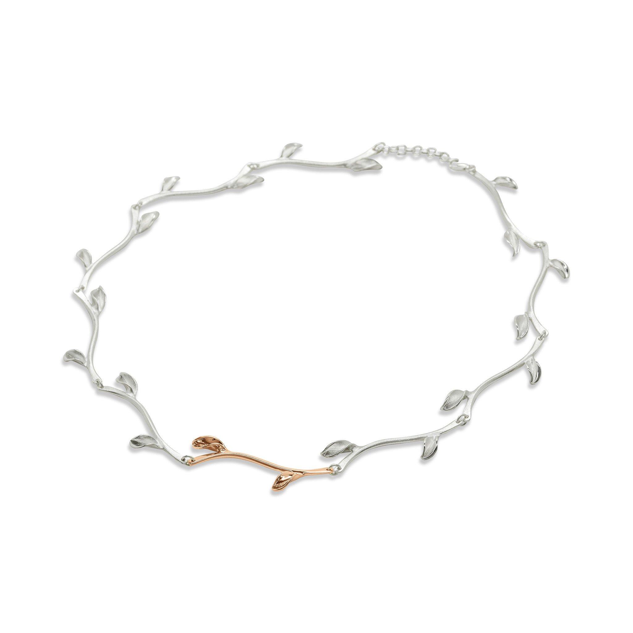 Mavilo Rose Gold Leaf Stem Necklace
