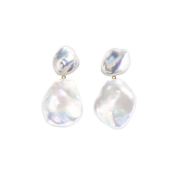 Duet Keshi & Flat Baroque Pearl Earrings