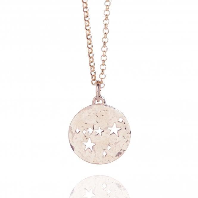 Capricorn Zodiac Necklace Hammered Rose Gold Vermeil
