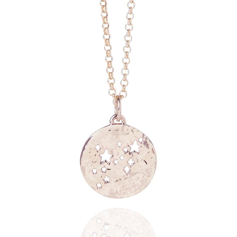 Sagittarius Zodiac Necklace Hammered Rose Gold Vermeil